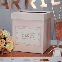 Geo Blush Wedding Card Post Box